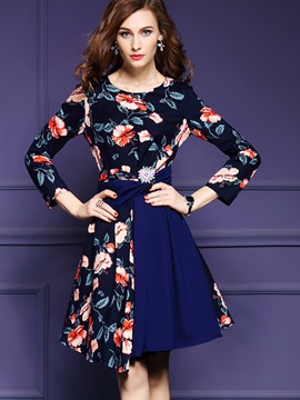 Ericdress Nine Points Sleeve Print Patchwork A Line Dress