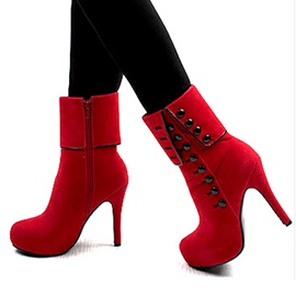 Popular Side Zipe With Button Ankle Boots