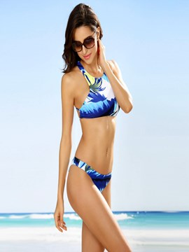 Ericdress Vogue Palm Tree Print Cross Strap Bikini Set