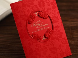 Red Floral Side Fold Invitation Cards (20 Pieces One Set)