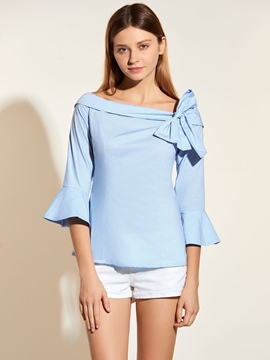 Ericdress Solid Color Off-Shoulder Bowknot Blouse