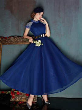 Ericdress Vintage A-Line Bateau Beading Ankle-Length Prom Dress