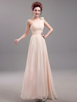 Ericdress One Shoulder Flower Long Bridesmaid Dress