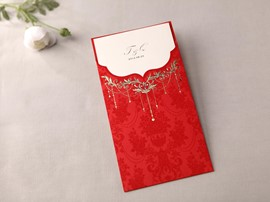 Classic Design Wrap & Pocket Wedding Invitation Cards (20 Pieces One Set)