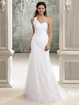 Elegant A Line One Shoulder Beach Lace Up Chapel Train Pleats Wedding Dress