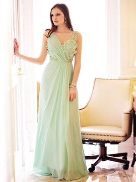 A-Line V-Neck Flowers Beading Evening Dress