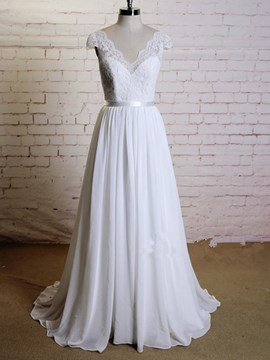 Ericdress Casual V Neck A Line Chifffon Beach Wedding Dress