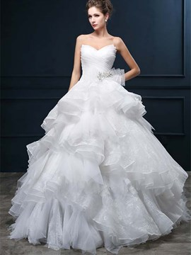 Unique Strapless Tiered Lace Wedding Dress