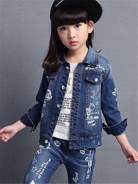 ericdress Cartoon Denim Mädchen Outfit