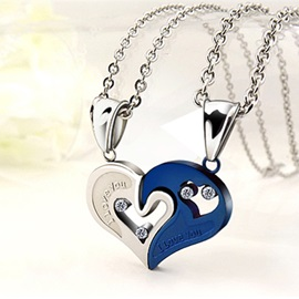 Pretty Heart Shape Lovers Titanium Steel Pair Necklace