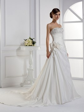 Charming A-line Strapless Floor-length Chapel Wedding Dress