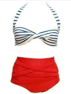 Ericdress Red Stripe Pleated Tankini Set