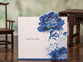 Floral Design Side Fold Invitation Cards (20 Pieces One Set)