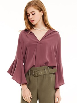 Ericdress Slim Lapel Flare Sleeves Plain Blouse