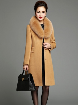 Ericdress Solid Color Luxury Fox Fur Collar Slim Coat