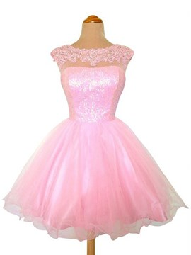 Ericdress bijou cou applications Dress Homecoming/Sweet 16 a-ligne de Tulle