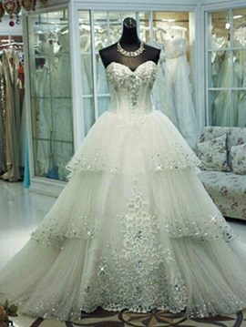 Ericdress Elegant Sweetheart Appliques Wedding Dress