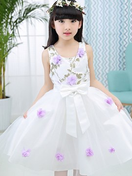 Ericdress Sleeveless Mesh Pleated Floral Girls Dress