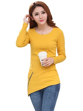 Ericdress Round Neck Zipper Asymmetrical Hem Long Sleeve T-Shirt