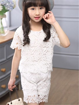 Ericdress Solid Color Hollow Girls Outfit
