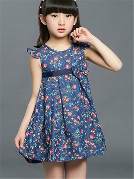 Ericdress Floral Print Lace-Up Girls Dress