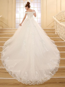 Classy Off the Shoulder Appliques Cathedral Wedding Dress