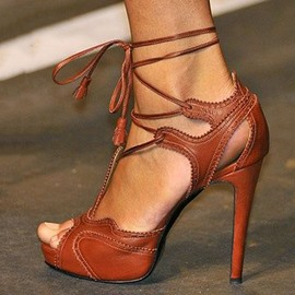 Elegant Brown High Heel Stiletto Sandals