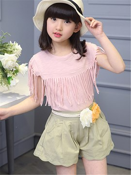 Ericdress Tassel Girls Shorts Outfit
