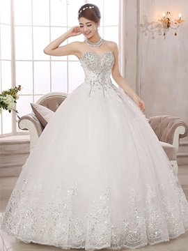 Ericdress Sequins Appliques Beading Ball Gown Wedding Dress