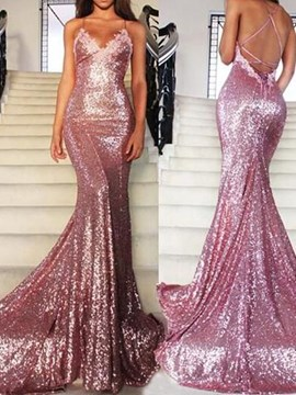 Ericdress Spaghetti Straps Sequin Mermaid Reflective Evening Dress