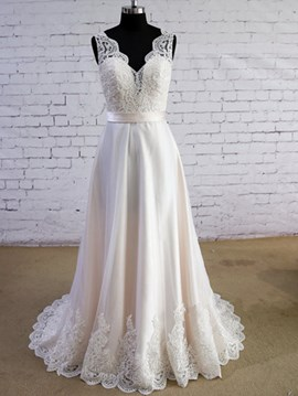 Ericdress Casual Appliques A Line Wedding Dress