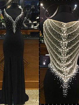 Ericdress A-Line Beading Black Long Formal Dress With Side Slit