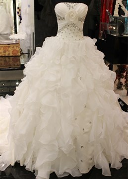 Ericdress Strapless Beaded Ruffles Ball Gown Wedding Dress