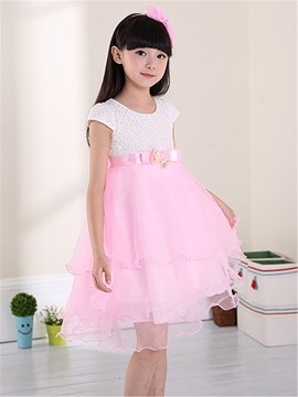 Ericdress Patchwork manches courtes Color Block Girls Dress