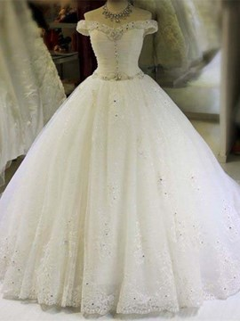 Ericdress Off The Shoulder Beaded Ball Gown Wedding Dress