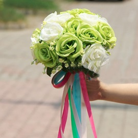 Wonderful Sphere Shaped White And Green Rose Wedding Bridal Bouquet