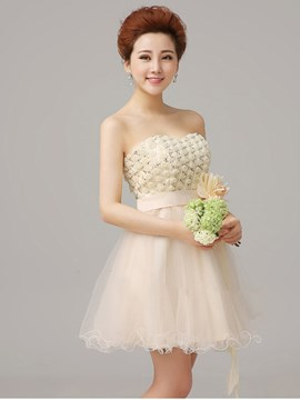 Faddish A-Line Lace-Up Handmade Flower Homecoming Dress
