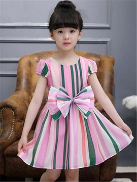 Ericdress Color Block Stripe Bowknot Girls Dress