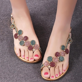 Gorgeous Rhinestone Flat Heel Genuine Leather Sandals