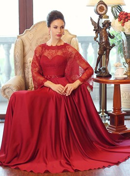 Ericdress Beading Lace Floor-Length Evening Dress With Shawl