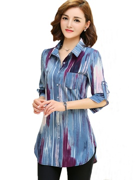Ericdress Color Block Printed Slim Blouse