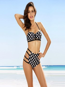 Ericdress Fashionable Polka Dots High-Waist Bikini Set