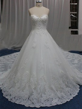 Ericdress Charming Sweetheart Lace Cathedral Train Wedding Dress