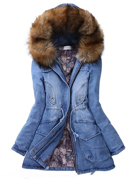 manteau ericdress de denim de couleur unie casual
