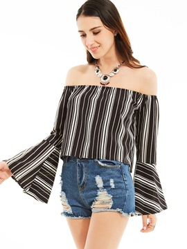 Ericdress Stripped Off-Shoulder Trumpet Blouse