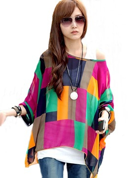 Ericdress flojo blusa de Bohemia Color Block