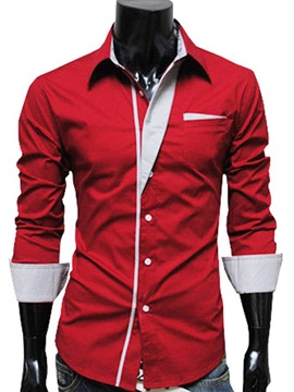 Ericdress Simple Lapel Single-Breasted Men's Shirt