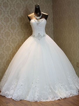 Ericdress Beading Appliques Lace-Up Ball Gown Wedding Dress