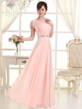 Ericdress Charming Scoop Cap Sleeves Beading Long Bridesmaid Dress