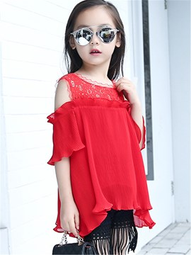 Ericdress Solid Color Falbala Girls Blouse